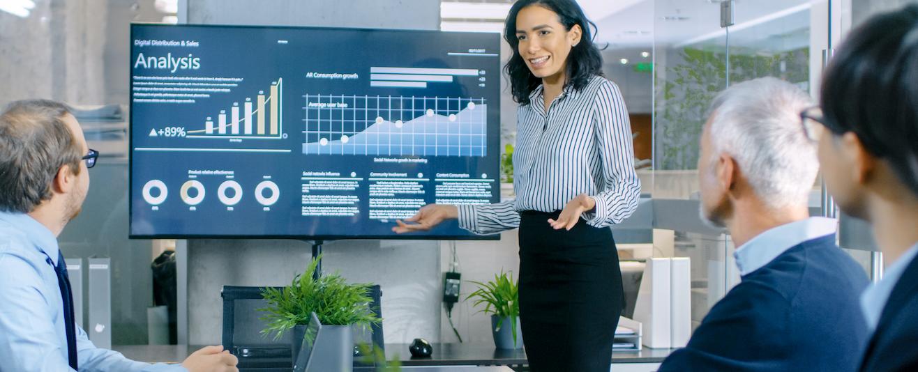 Woman Giving an Analysis Presentation